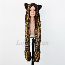 Full Hood Hoodie Hat Mittens Scarf Glove Button 3 IN 1 Function SEXY Leopard USA