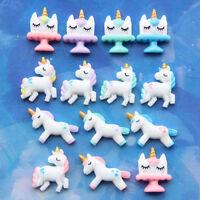 6 X Unicornio nube de arco iris Resina Dorso duro para Libros de Hágalo usted mismo Craft desguace embellishnents