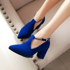 Womens Block High Heels Pointed Toe Elegant Pumps Daily Casual Shoe Party Office