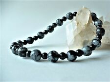 Bracelet en obsidienne noire 4mm et mouchetée 6 mm - noir gris pierre fine gemme