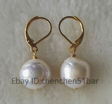Schöne kultivierte 10-11mm weiße Edison Barocke Süßwasser perle ohrringe