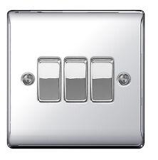 BG Electrical Npc43 Nexus Metal Polished Chrome 3 Gang 2 Way 10ax Plate Switch