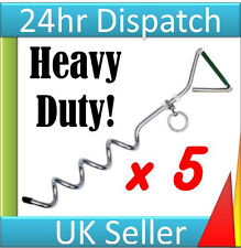 5 HEAVY DUTY SCREW IN GROUND ANCHOR METAL STAKES GAZEBO MARQUEE AWNING CAMPING