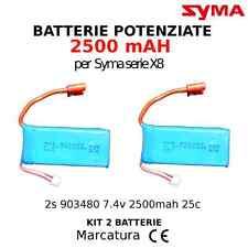 Due batterie potenziate 2s  903480  7.4v 2500mAH 25c per SYMA X8C, X8W, X8G