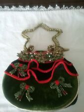 Mary Frances Christmas beaded bow ruffle Purse Absolutely Beautiful !!