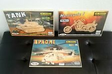 Lot of (3) Puzzled Wooden 3D Puzzle Construction Kit *NEW*