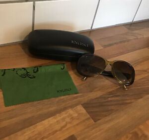 Ladies Kyusu Sunglasses Brown & Green With Case And Cloth