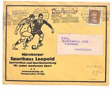 AR210 1927 GERMANY Nuremberg Advert Cover RARE Commercial *FOOTBALL* Thematic