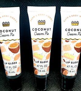 """🥥 3 X BATH & BODY WORKS COCONUT CREAM PIE LIP GLOSS NWT LOT OF 3 """"STAY SAFE"""" 😷"""