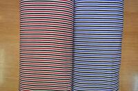 3mm Candy Stripes On White Craft Dress 100% cotton Fabric Red & Blue FREE P&P