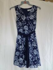Madam Rage Navy/white Floral Printed Lace Skater Dress Size 10