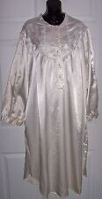 Women's 3X Long Sleep Gown Off White Victorian Style Embroidery Floral Lace Bib