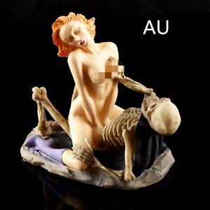 15.5cm Skull Ornament Statue Figurine SEX Decor Halloween Vintage Gothic AU
