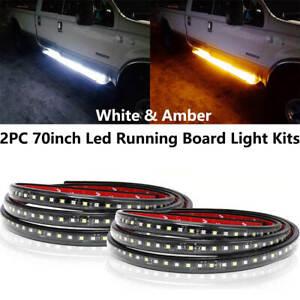 """White/Amber 70"""" 174-SMD Flexible LED Running Board/Side Step Lighting Strips 2X"""