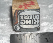 Vintage Genuine BURGER KING LOGO Letterpress Printers Block ENGRAVED Metal Stamp
