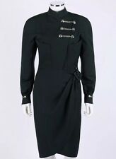 Thierry Mugler Paris Vintage Very Rare Black Military Dress, Sz 38.