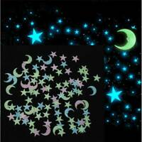 100X Glow in The Dark 3D Moon Stars Stickers Decal Ceiling Wall Bedroom DIY NEW