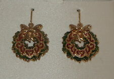 Hook Style New in Gift Box Christmas Wreath Earrings Pierced Gold Tone Fish
