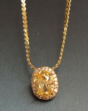 Gold Plated Simulated Citrine Necklace Deco Yellow Cubic Zirconia Long 24 Inches