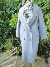 luxury CLAIRVAL Paris 100% CASHMERE airforce blue boyfriend COAT Lge bnwt £995