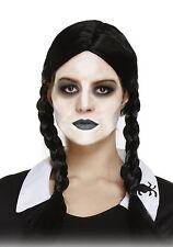 Schwarz Haarzöpfe Perücke Schulmädchen Wednesday Tochter Gothik Halloween Kostüm