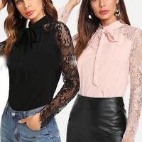 Women Bowknot Necktie Lace Blouse  Long Sleeve Office T-shirt Casual Slim Tops