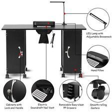 Large Manicure Nail Table Station Steel Frame Beauty Spa Salon Equipment w/ Fan