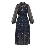 Fashion Women Unique Mesh Embroidery Long Sleeves Lace Dress 2Pcs Sets Muk15