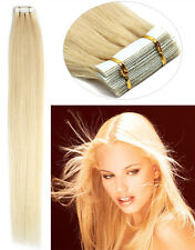 Remy Human Hair Extension Seamless Tape in Skin Weft 60 Platinum Blonde16'' US