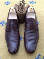 Gucci Mens Shoes Brown Leather Loafers UK 8 US 9 EU 42 Embossed Made in Italy
