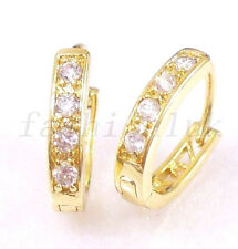 fashion1uk Simulated Diamond 14K Gold Plated Oval Huggie Hoop Earrings 15mm