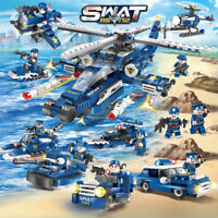 515pcs City Police Set 8-in-1 Swat Army Helicopter Car Boat Building Blocks Toys