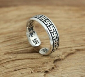 Buddhist Swastika Wan Zi S925 sterling silver expandable ring