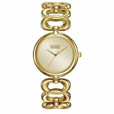 Citizen Eco-Drive Ladies EM0222-58P Gold-Tone Stainless Steel Bangle Band Watch