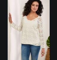 Soft Surroundings Twilla Sweater XL Solid White Cotton Open Knit Scallop Hem NWT