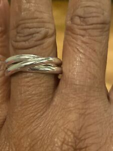 Size 7 Tiffany & Co Sterling Silver 3 Band Rolling Interlocking Ring Sz 8