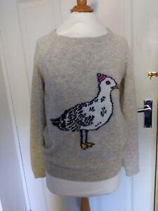 Quba & co nautical sailing jumper pullover size 3 (L) lambswool & angora seagull