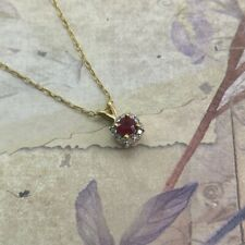 Ruby & Diamond Cluster Pendant in 9ct Gold