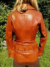 JEAN PAUL GAULTIER SCULPTURED LEATHER BIKER JACKET BURNT ORANGE IT40 FITS UK8-10