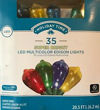 "35 Holiday Time Super Bright Transparent Multi-Color ""Edison Style"" LED Lights"