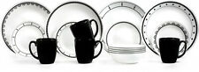 Black/White 16-Piece Dinnerware Set Lightweight Stackable Dishes Home Kitchen