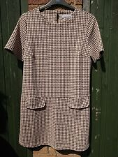 Dorothy Perkins Petite Brown&Cream Dog Tooth Print Shift Dress Size 16