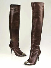 CHANEL Brown Leather Silver Cap Knee High Boots ~ US: 8 ; EUR: 38 * AUTHENTIC