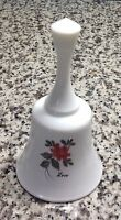 FENTON LOVE PINK  ROSES HAND PAINTED MILK GLASS BELL BY MARILYN WAGNER LARGE EC