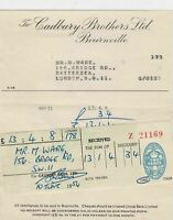 Cadbury Brothers Ltd Bournville Confectioners 1954 2Pence Stamp Receipt Rf 32722
