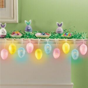 5 Foot LED Lighted Glittery Pastel Colored Easter Egg String Lights