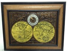"Vintage Spartus World Map Wall Clock Framed 20""x16"""