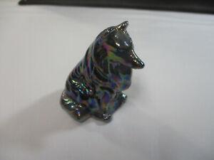 VINTAGE MOSSER BLACK AMYTHEST GLASS COLLIE LASSIE DOG FIGURINE