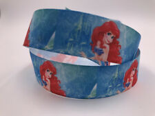 DIY 1 Yard 1'' Cartoon Mermaid Printed Grosgrain Ribbon Hair Bow Sewing Ribbon