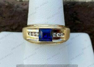 14K Yellow Gold Finish 2.50 CT Princess Blue Sapphire Diamond Men's Wedding Ring